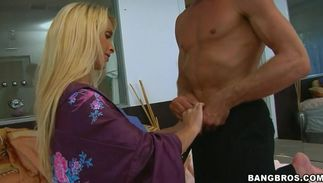 Cute big boobed blond mom Holly Halston with tight love tunnel just needs a good fuck until she cums