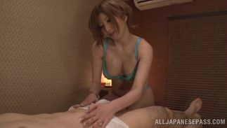 Elegant busty chick Reira Akane is sucking fuckmate's pipe and getting fucked from the back