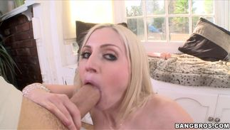 Spicy golden-haired Christie Stevens with firm tits is ready for the 1st fuck of the month