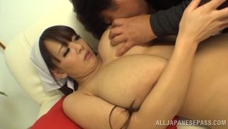 Sinful maid Hitomi with curvy tits is doing her most excellent to keep pal completely satisfied in every way