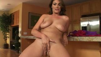 Charming Charlie James with giant natural tits gets her cherry pounded in close up