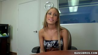 Nasty blond Laura Love with curvy tits viciously rides a hard dangler