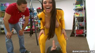 Aroused darling Bethany Benz with firm milk cans is on the hunt for dangler