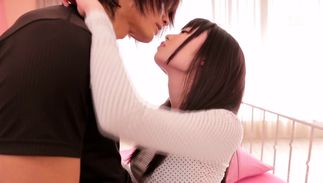 Carnal Aika Yumeno with handsome tits adores her ripped man's chopper penetration