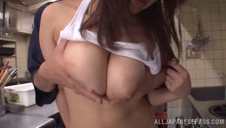 Savory big boobed woman Rina Araki shows her putz to a lad