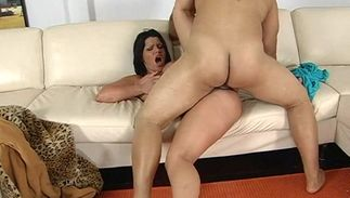 Enchanting latin dark-haired bitch Angelina Castro with curvy natural tits wants guy's rod deep inside her