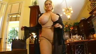 Striking blonde playgirl Samantha 38G with round natural tits has her juicy wazoo and poontang licked