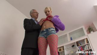 Handsome girlie Brooke Jameson with great scoops gropes her scoops while receiving a hard pounding
