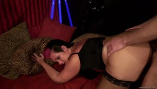 Glamor Betty with curvy tits is riding a meaty sausage in many different positions