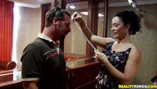 Charming bosomed Gianna Lace blows a hard tool