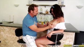 Astounding big titted maiden Angelica Raven is getting her beaver licked and stuffed with a hard meat