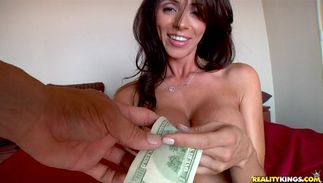 Wicked brown-haired Ariella Ferrera with impressive tits deepthroats and rides a long and hard rod