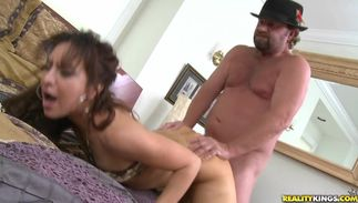 Beguiling latin Eva with great tits receives a rough doggy position act