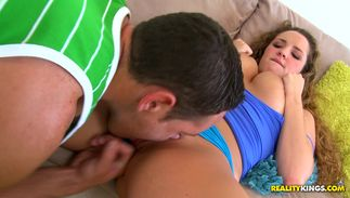 Fascinating busty brown-haired April Knight opens wide for a giant pecker