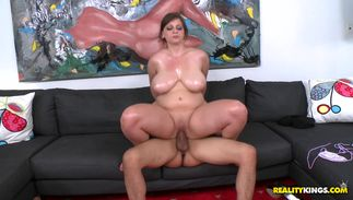 Raunchy big boobed diva Jessica Roberts is bouncing up and down all over fellow's shlong and moaning