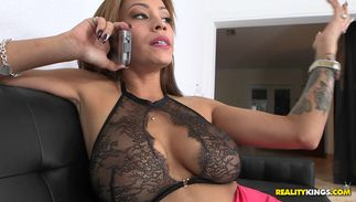 Sinful latin brown-haired maid Jamie Valentine with large tits swallows large chopper and rides it