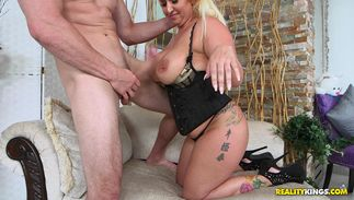 Cute blond Nina Kayy with giant tits endures pussy tester for a cunt hardcore