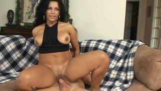 Glorious girlfriend Hunter with firm love melons enjoys hardcore sex and swallowing